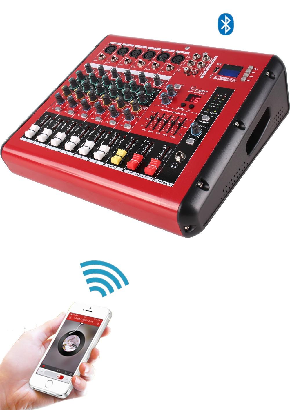 Prix pour 500 W 6 Canaux Alimenté Console De Mixage Amplificateur Fonction D'enregistrement Mezcladora De DJ PMR606D