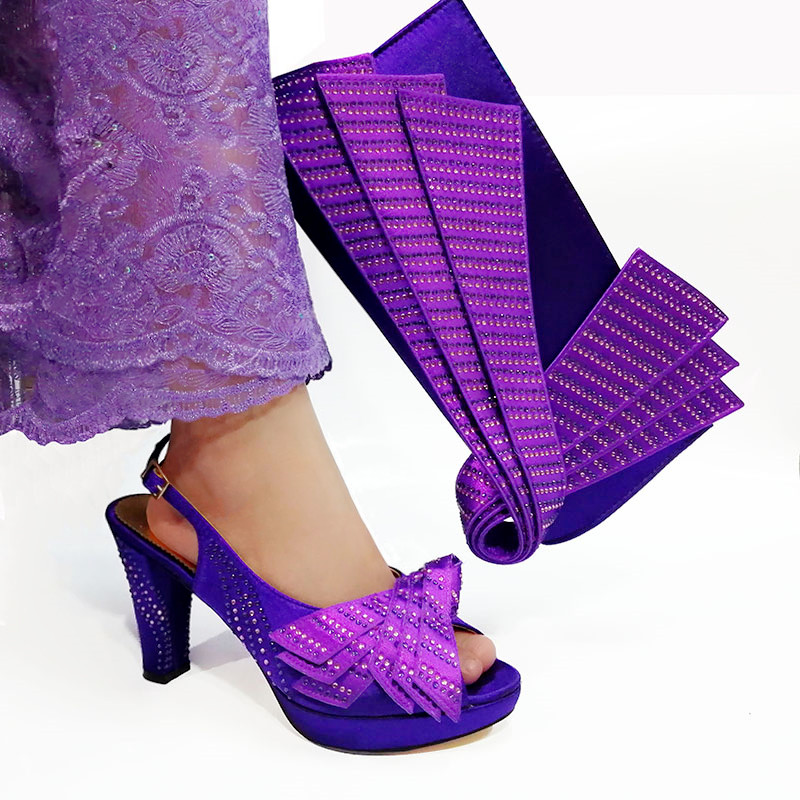 2019 Newest style Purple color African shoe and bag set high heel italian shoe with matching bag best selling ladies 2019 Newest style Purple color African shoe and bag set high heel italian shoe with matching bag best selling ladies