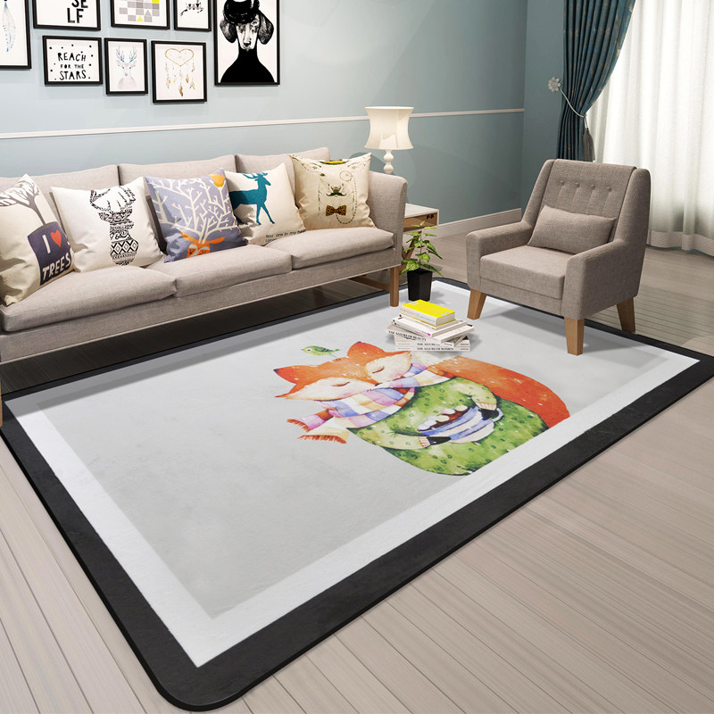 Cartoon Animal Carpet Kids Room Home Decor Carpets For Living Room Children Crawling Soft Rug Soft Coffee Table Floor Mat Rugs