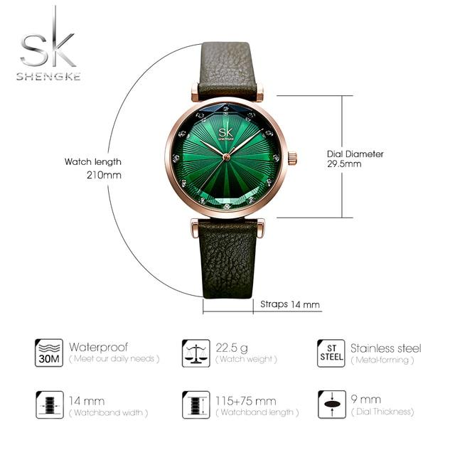fed38f32ecd2 Shengke de moda de las mujeres verde reloj de cuarzo de cuero de dama  correa de reloj Casual de alta calidad impermeable reloj de pulsera regalo  para esposa