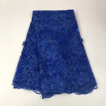 Best Selling Swiss Voile Laces African Lace Fabric Blue Nigerian French Fabric 2018 High Quality Nigeria Tulle Cord Lace Fabric