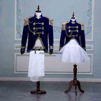 2 Pcs Couple Deluxe Military Dress Tuxedo Blue Suit Lovers Halloween Navy Sailor Cosplay Costume Uniform For Men&Women Plus Size