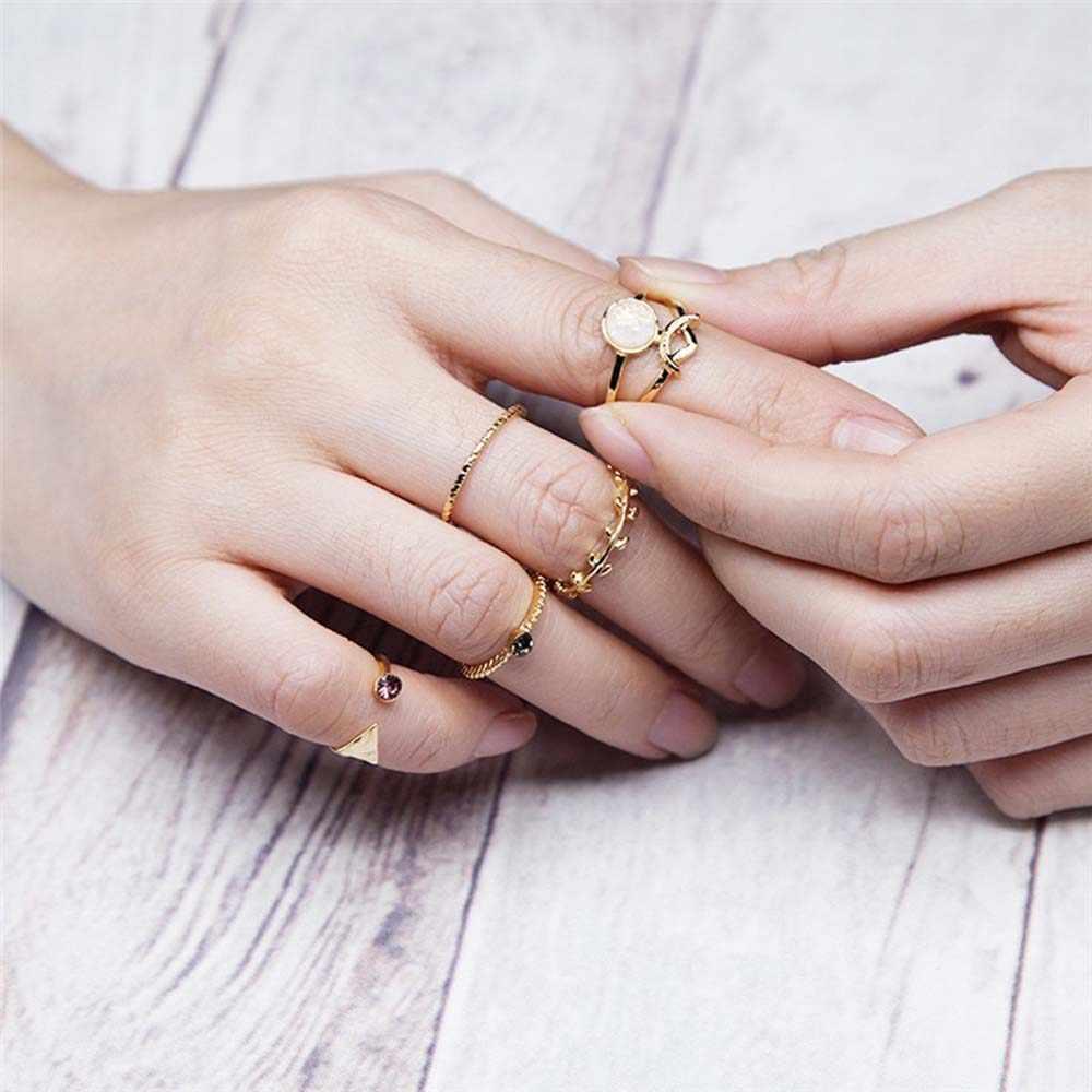 ขายร้อน Vintage Bohemian Gypsy ชุดแหวน Geometric Knuckle แหวนเงินโอปอลแกะสลักดอกไม้ดวงจันทร์แหวน Knuckle