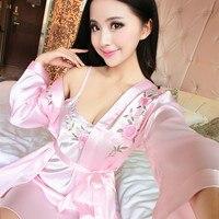 2017 Summer Silk Nightgowns Women Sexy Spaghetti Strap Sleepdress Solid Satin Nightdress Nightie Style Pink White
