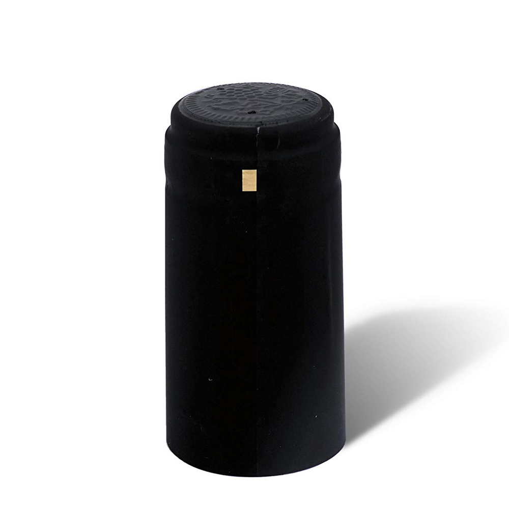 GUH 100PCS/LOT PVC Heat Shrink Capsules With Tear Tab For Wine Bottles Elegant Matte Black Premium Quality Shrink Bottle Sleeves