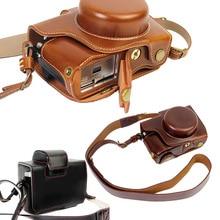 Новый роскошный pu кожаный чехол для камеры видео сумка для olympus em10 II EM-10 II Камеры Ретро Винтаж сумка для Фотокамеры открытый Батареи с ремень