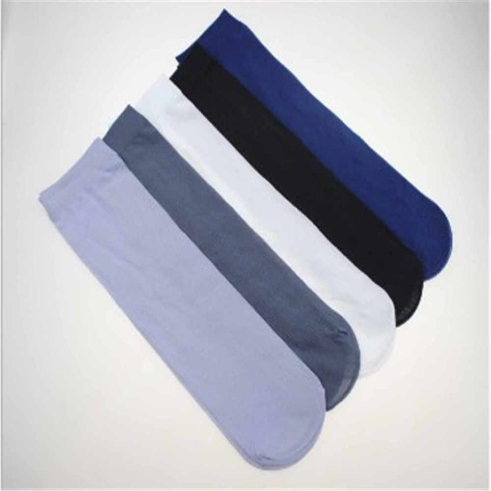 Venda quente 1 par de meias de negócios masculinos fino elástico cor sólida verão meias de seda comfy men meias confortáveis de alta qualidade 2019