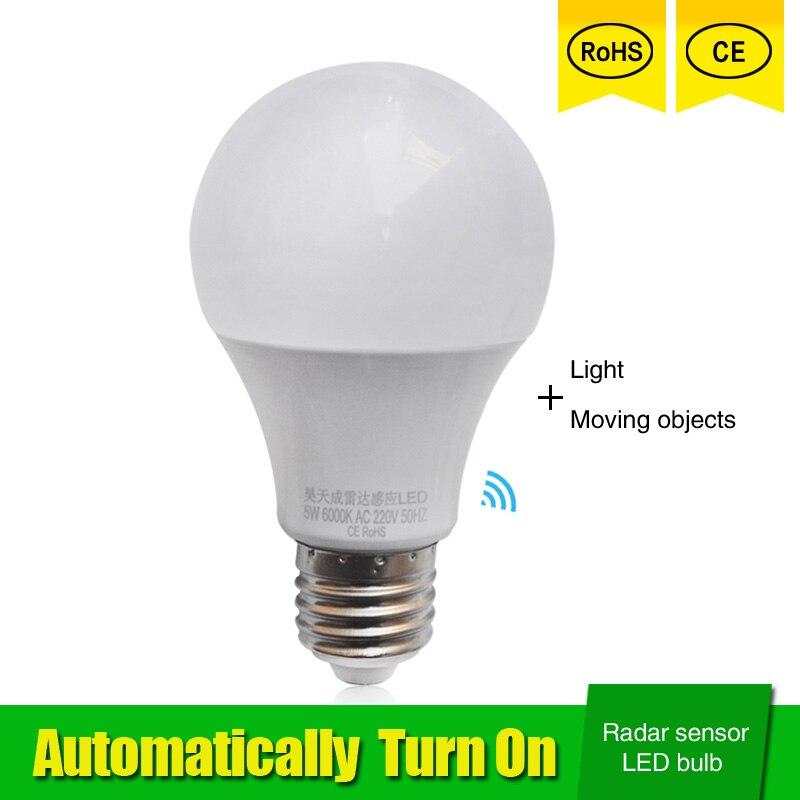 Radar Motion Sensor Led Lamp Bulb E27 5W 7W 9W 110V 220V 85-265V automatic Smart Detection Led Infrared Body Motion Sensor Light