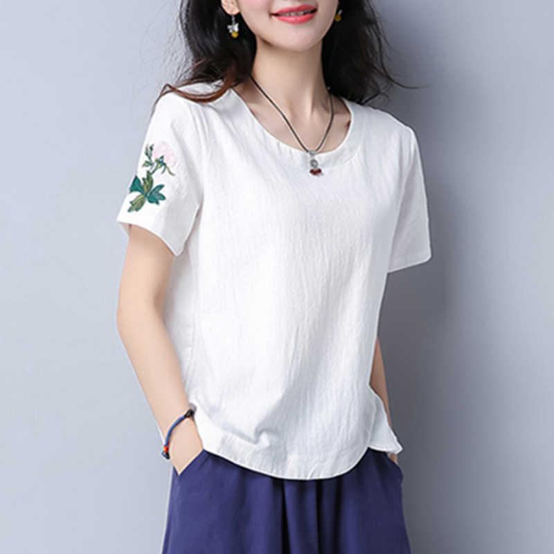 2019 여름 빈티지 자 수 짧은 소매 tshirt 여성 캐주얼 플러스 크기 코 튼 t 셔츠 여성 탑스 Yocllea WJD7942