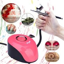 Kit de Maquiagem Airbrush com Mini Compressor de Ar Única Ação Aerógrafo set tatuagem Temporária Rosto Corpo Pintura Da Arte Do Prego da escova de ar conjunto