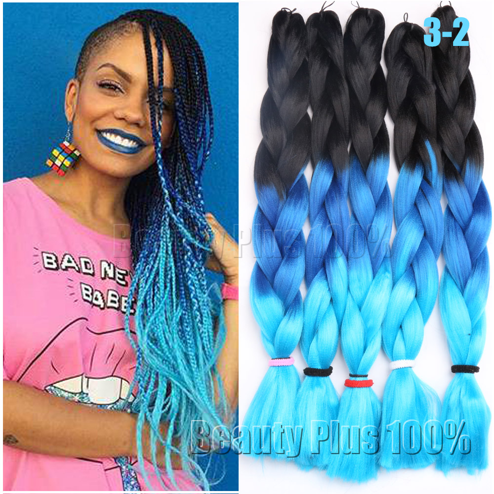 3 Tone Ombre Colors Braiding Hair 24 Purple Pink Blue Jumbo Braid