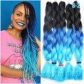 "3 tone Ombre Colors Braiding Hair 24"" Purple/Pink/Blue Jumbo Braid Xpression Braiding Hair Synthetic Box Braids Hair extension"