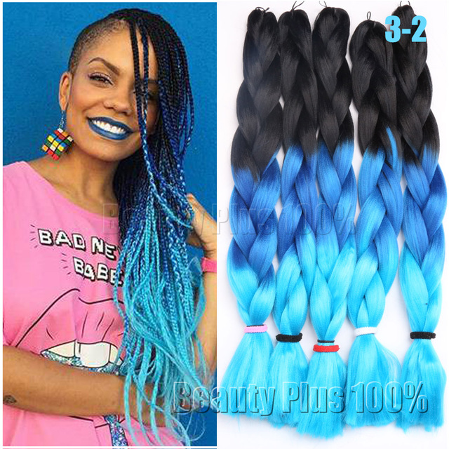 3 Tone Ombre Colors Braiding Hair 24 Purple Pink Blue Jumbo Braid Xpression