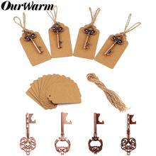 OurWarm 50Pcs Wedding Party Favors Vintage Key Bottle Opener with Tags Gifts for Guests Souvenirs Event Supplies