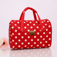 2016 New Solid Color  Korean Style Travel Bag Waterproof Makeup Bag Ladies Large Capacity Oxford Dot  Cosmetic Bag