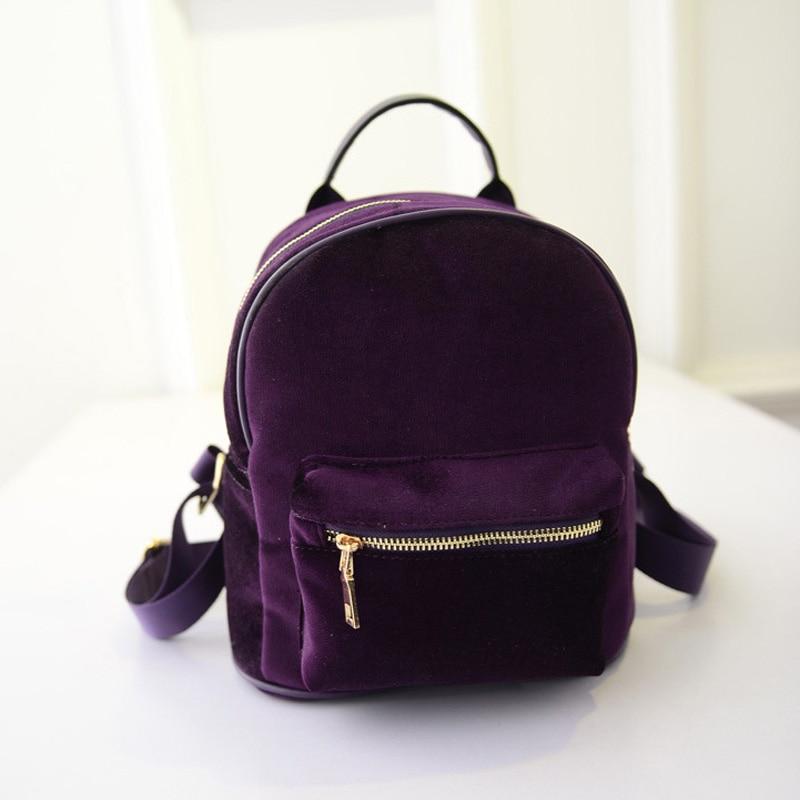 New Fashion Women Velvet Backpacks Pleuche Casual Style Girls Mochila Zipper Bags BS88