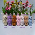 100pcs/lot, H-6cm lovely Mini Stuffed Jointed Bear Gift Flower Packing Teddy Bear Long wool bears  with 7 colors mixed  tt