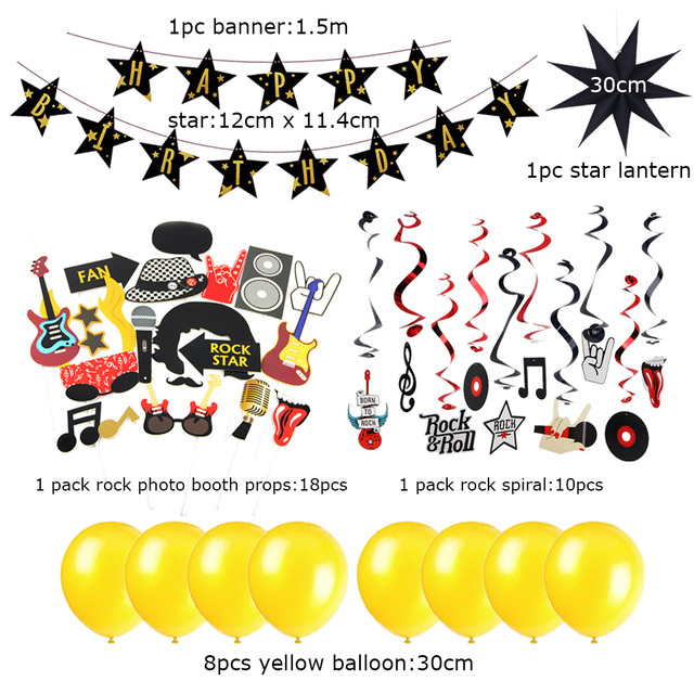 Rock Birthday Party Decorations Paper Star Hanging N Roll Photo