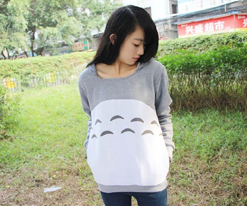 Cartoon Cute Totoro Hoodie With Ears Style Pullover Gray Cotton Sweatshirt My Neighbor Totoro Top