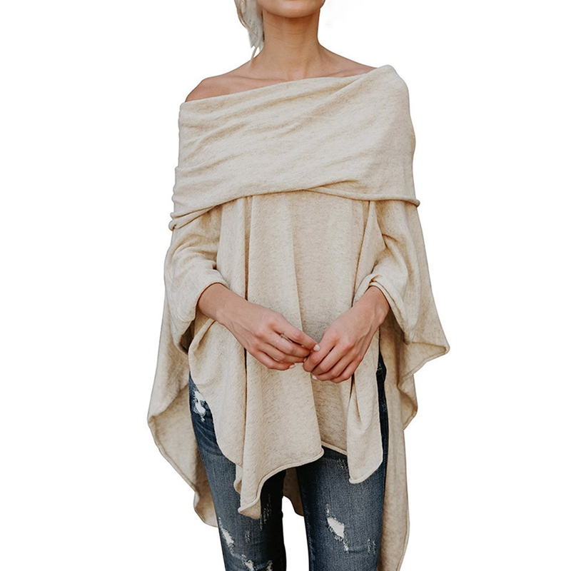 New Fashion Style Women Casual Off Shoulder Blouses Shirts Handkerchief Irregular Hem Side Slit High Low Tunic Tops