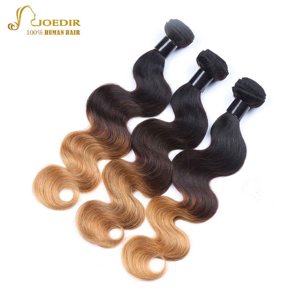 JOEDIR Hair 3 Bundles Deal Brazilian Body Wave Bundles 10 To 26 T1B/4/27 Three Tone Ombre Human Hair Bundles Hair Extensions
