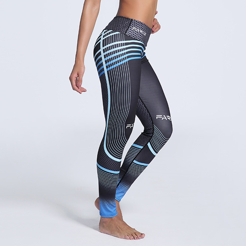 Plus-maat Fitnesskleding Dames Elastische sportlegging Leggings Kleurverloop Streepdruk Training Legging Push-up Leggins DropShip