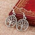 Nova! Hot moda Fine Jewelry Bohemian estilo Retro antiga personalidade prata árvore da paz presente brincos para as mulheres E-536
