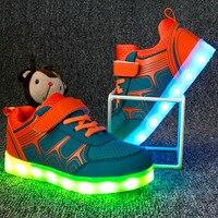 New Brand Boys Girls USB Charging Sport Casual Shoes Children Shoes Light Led Luminous Shoes Kids