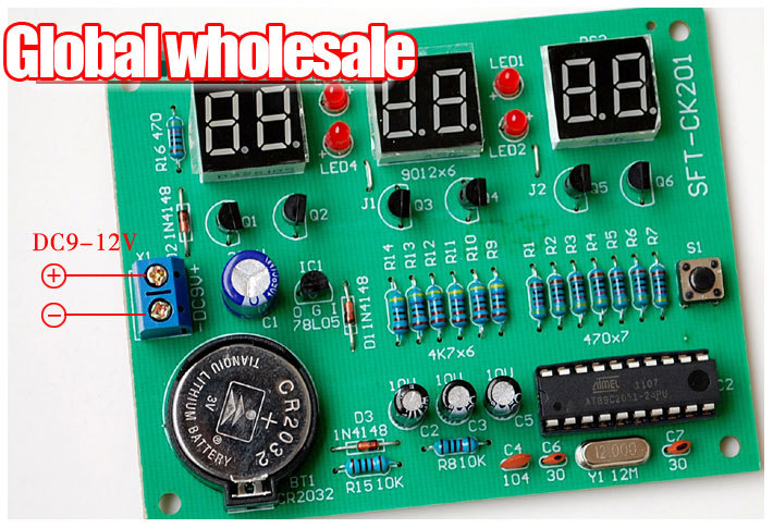 At89c2051 6 Bit Digital Clock Module Kit    Clock Module Is