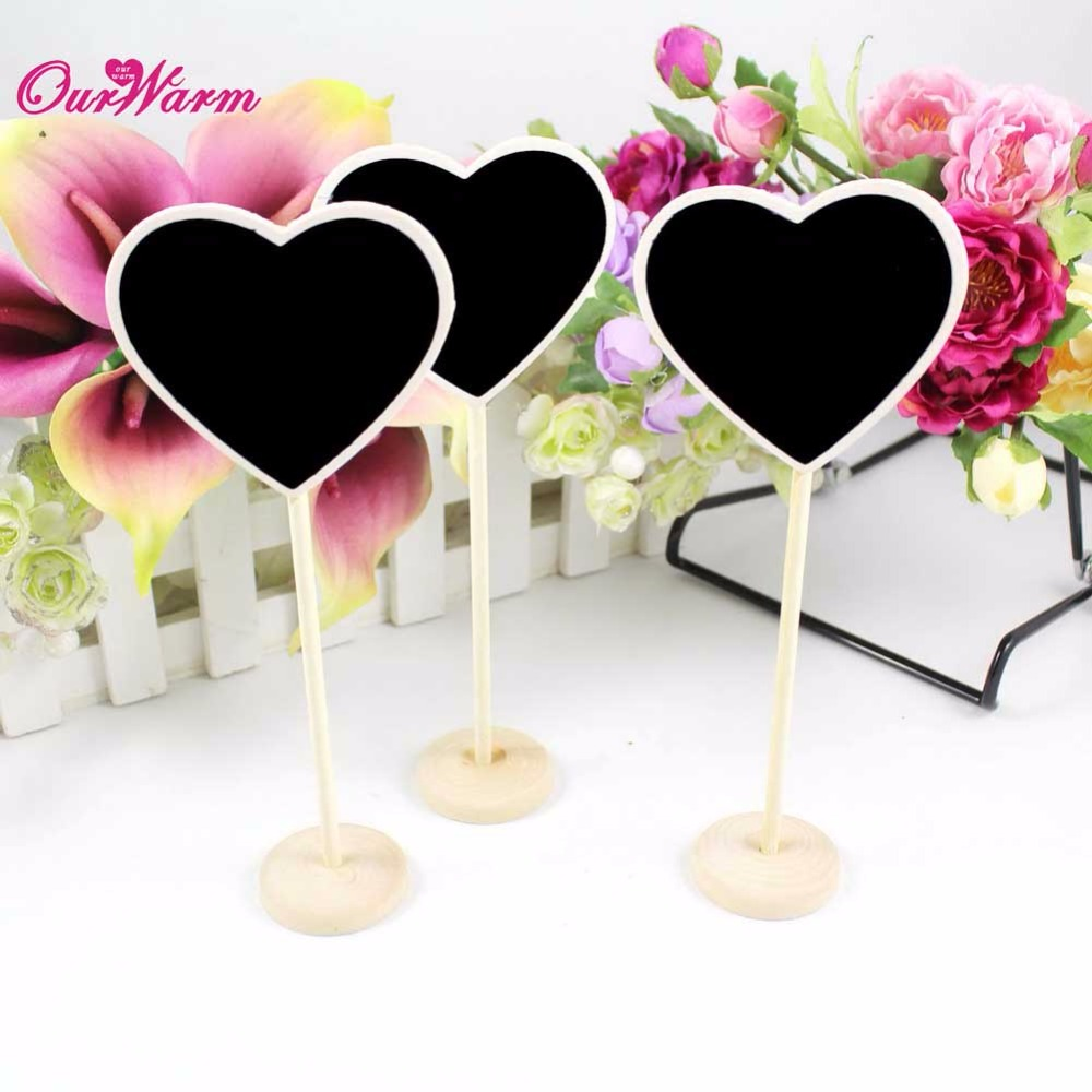 OurWarm 20Pcs/Lot Mini Wood Chalkboard Blackboard Table Name Place Cards Holder Birthday Wedding Party Table Decoration