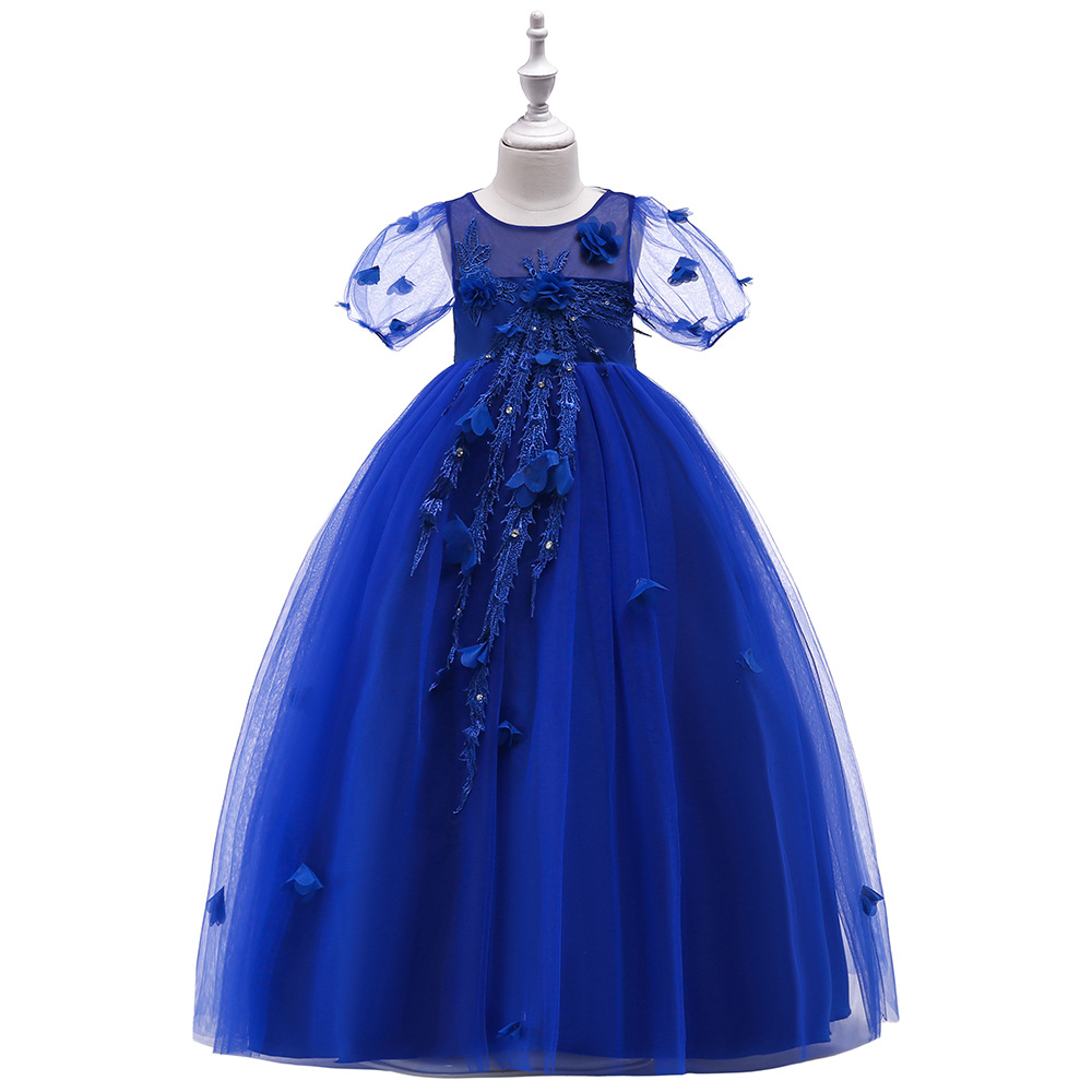 White Green Little Girls Pageant Dress Royal Blue Ball Gown Beads Lace Applique Floor Length Flower Girls Dress