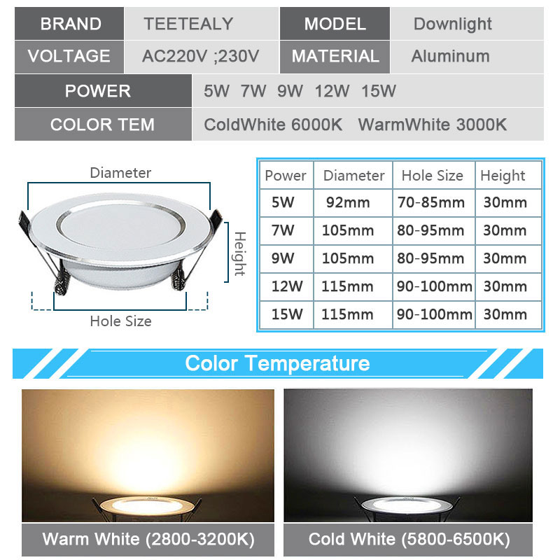 Image 2 - 4PCS Dimmable Waterproof LED Down lights 5W 7W 9W 12W 15W LED Downlight  Outdoor Leds Ceiling Lamp For Bathroom Bulb-in Downlights from Lights & Lighting