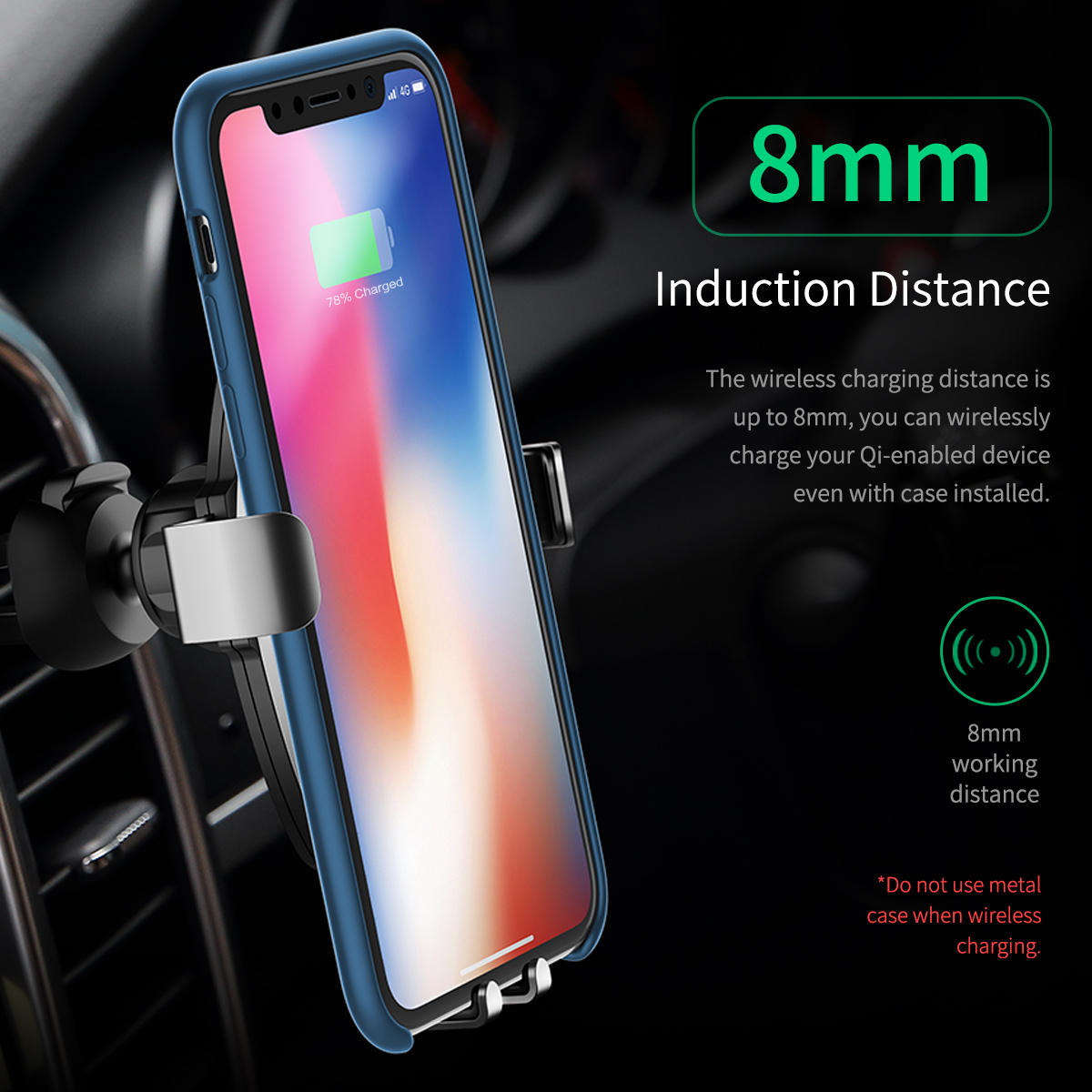 HTB1SFIkB5OYBuNjSsD4q6zSkFXaG - 10W QI Wireless Car Charger Gravity Holder , ROCK for iPhone X 8 Plus Samsung Galaxy S8 S7 Note 8 Quick Charge Charging Stand