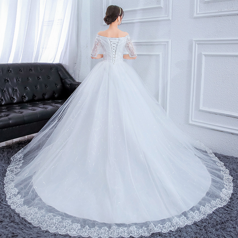 Elegant Lace Wedding Dress Hot Drilling Big Yards Bridal One Word Collar Wedding Dresses Princess Big Trailing Wedding Gown