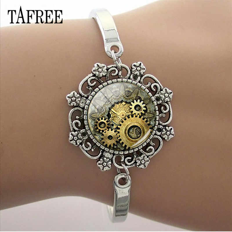 TAFREE DIY Steam Punk Clock Gear Lace Charm Bracelet 15MM Glass Cabochon Image Dome Chain Bangle Punk Jewelry Gift  T609