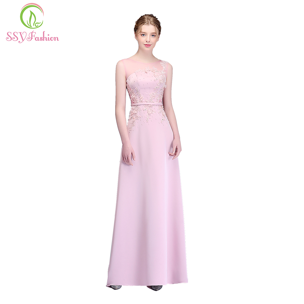 SSYFashion New Sweet Pink Mermaid Evening Dress Sleeveeless Lace Appliques Sexy Fishtail Prom Party Gown Robe De Soiree