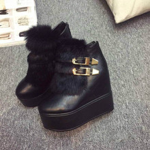 2015 winter boots rabbit fur boots high-heeled Martin boots thick with waterproof boots padded shoes tide