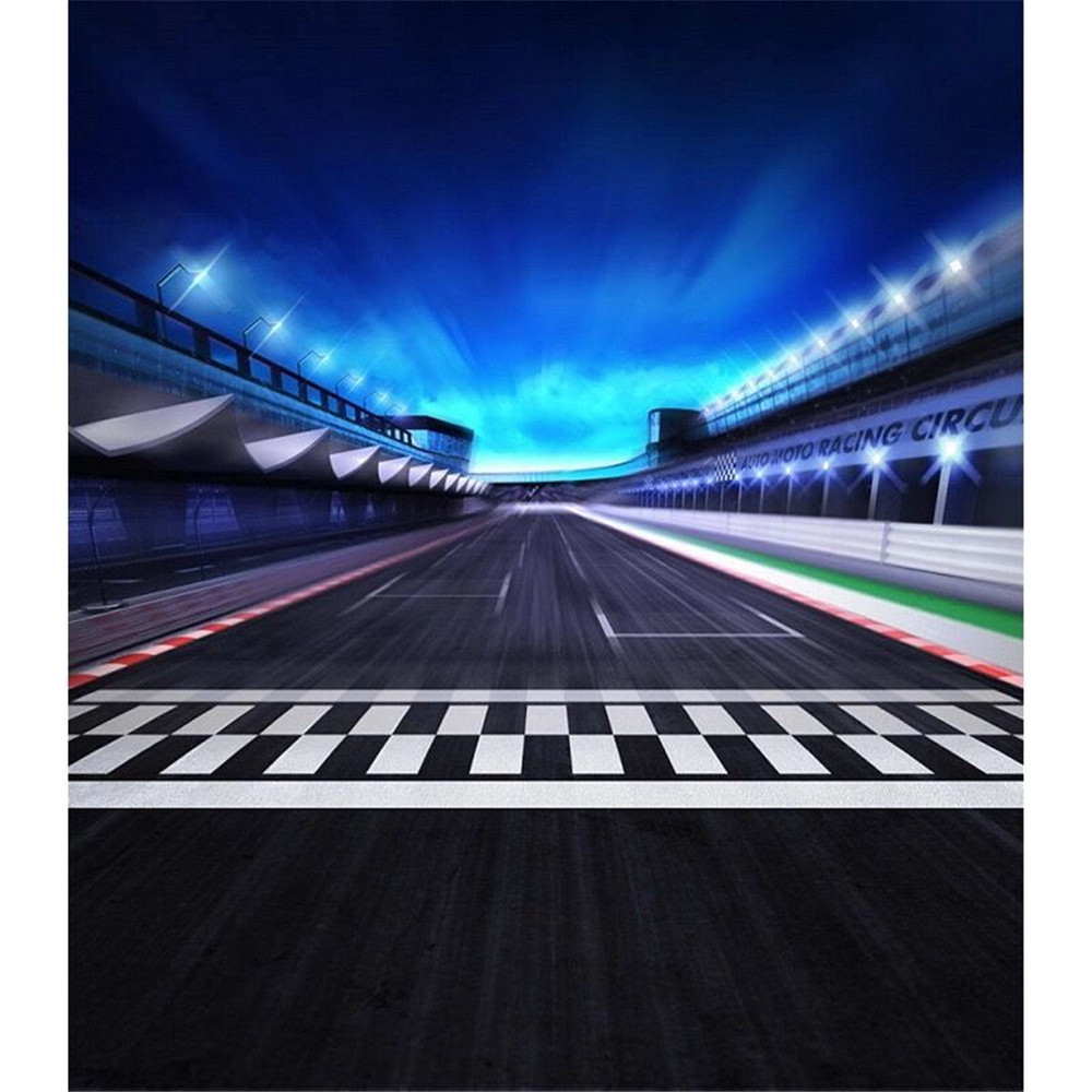 US $19 0 24% OFF|Auto Moto Racing Circus Photography Backdrop Printed Blue  Sky Dark Athletic Track Kids Children Stage Photo Booth Background-in