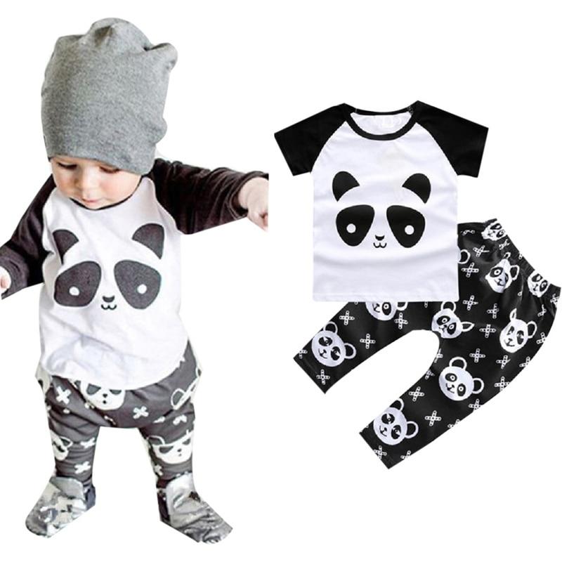 875c4e54e69f51 2 pcs ensemble New Summer Enfant Bébé Garçon Mignon Panda Imprimé Coton  Vêtements Ensemble Nouveau-Né Infantile Enfants Outfit Survêtement T30