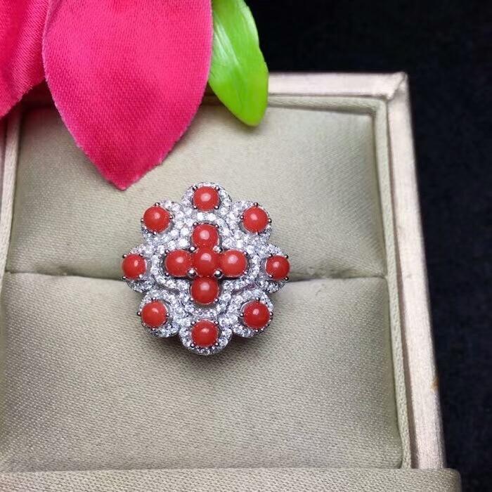 KJJEAXCMY joyería fina 925 Plata pura incrustada natural rojo coral anillo femenino joyería triangular micro inserto-in Anillos from Joyería y accesorios    3