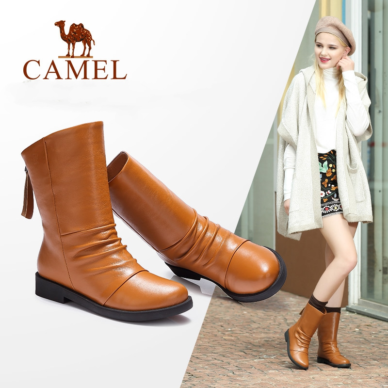 CAMEL Winter Shoes Women Mid Calf Leather Boots Shoes Round Flat Low Heel Short Plush Buckle Mid Boots Ladies Slip On Female wide calf designer slip on trend short harajuku shoes japanese flat women boots winter 2017 ankle autumn black lace up female