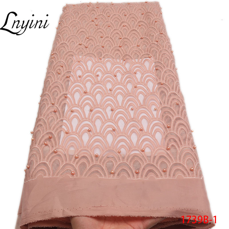 Latest African Lace Fabric 2019 High Quality White French Net Tulle Lace Fabric Nigerian Lace Fabrics