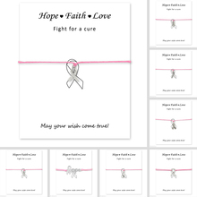 Fighter Breast Cancer Awareness Pink Ribbon Bracelets Hope Faith Love Antique Silver Charm Women Men Handmade Jewelry