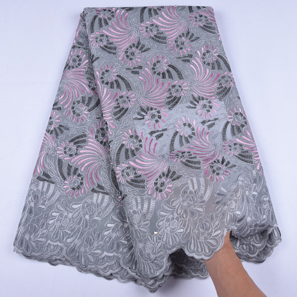 New Arrival Swiss Cotton Lace Fabric High Quality Swiss Men Voile Lace In Switzerland Stoned African