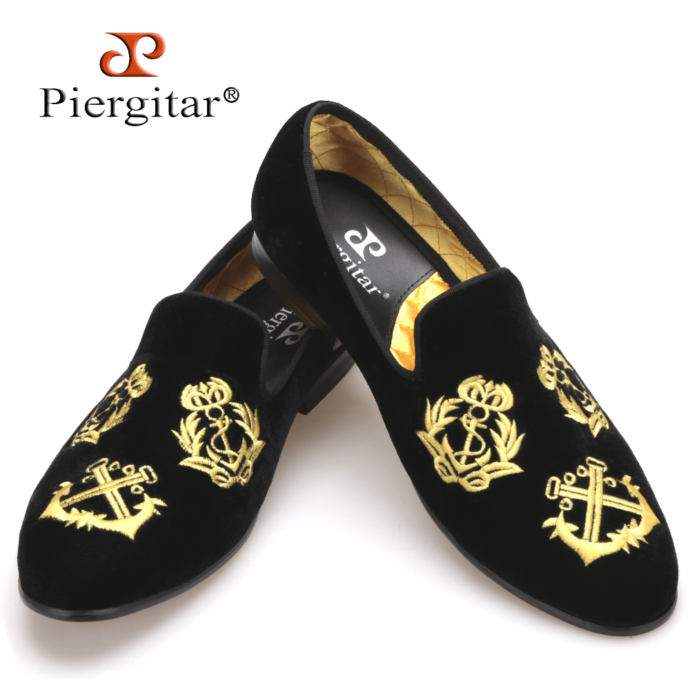Piergitar new style Handmade Men Velvet shoes with luxurious embroidery Leather and Satin insole Party and Banquet Men Loafers 2017 new arrival comfortable genuine leather bottom and insole men loafers colourful banquet men handmade shoes party male flats