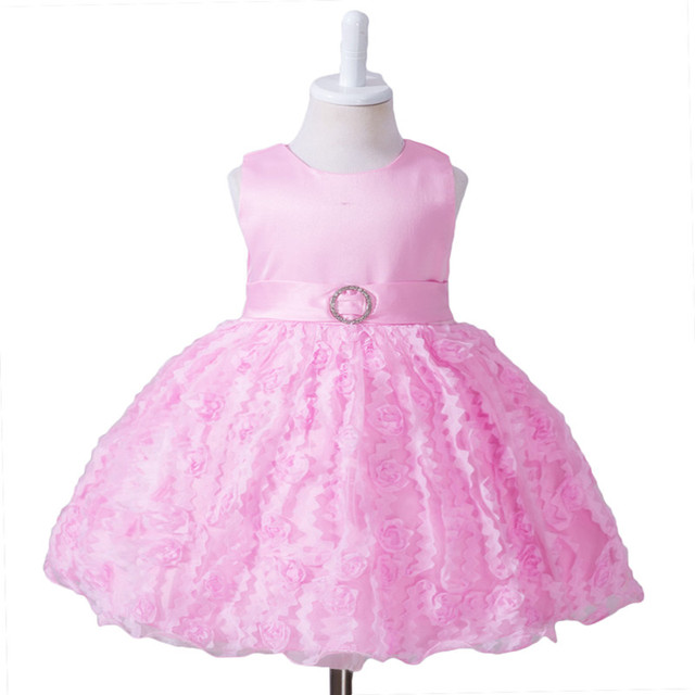 Dress Girl tutu dress with bow rose 1 year birthday girl well party dress children's clothing baby dress