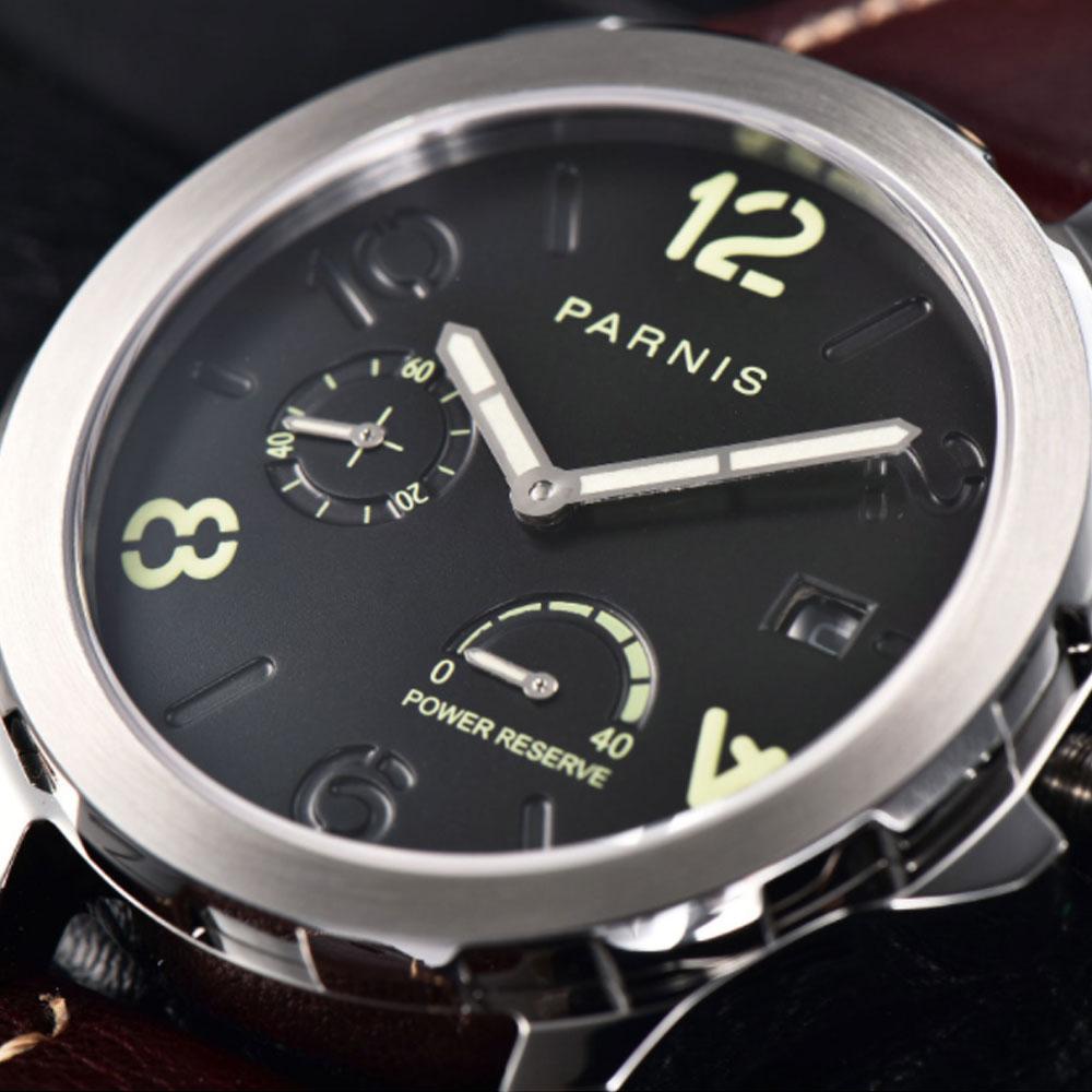 Luminous Mechanical Watches Men's Tourbillon Watch Parnis 44mm Power Reserved Luxury Calendar Leather Waterproof Watches Relojes