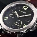 Светящиеся механические часы  мужские часы Tourbillon Parnis 44 мм  Роскошные водонепроницаемые часы с календарем и кожаным ремешком