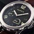Leucht Mechanische Uhren männer Tourbillon Uhr Parnis 44mm Power Vorbehalten Luxus Kalender Leder Wasserdichte Uhren Uhren