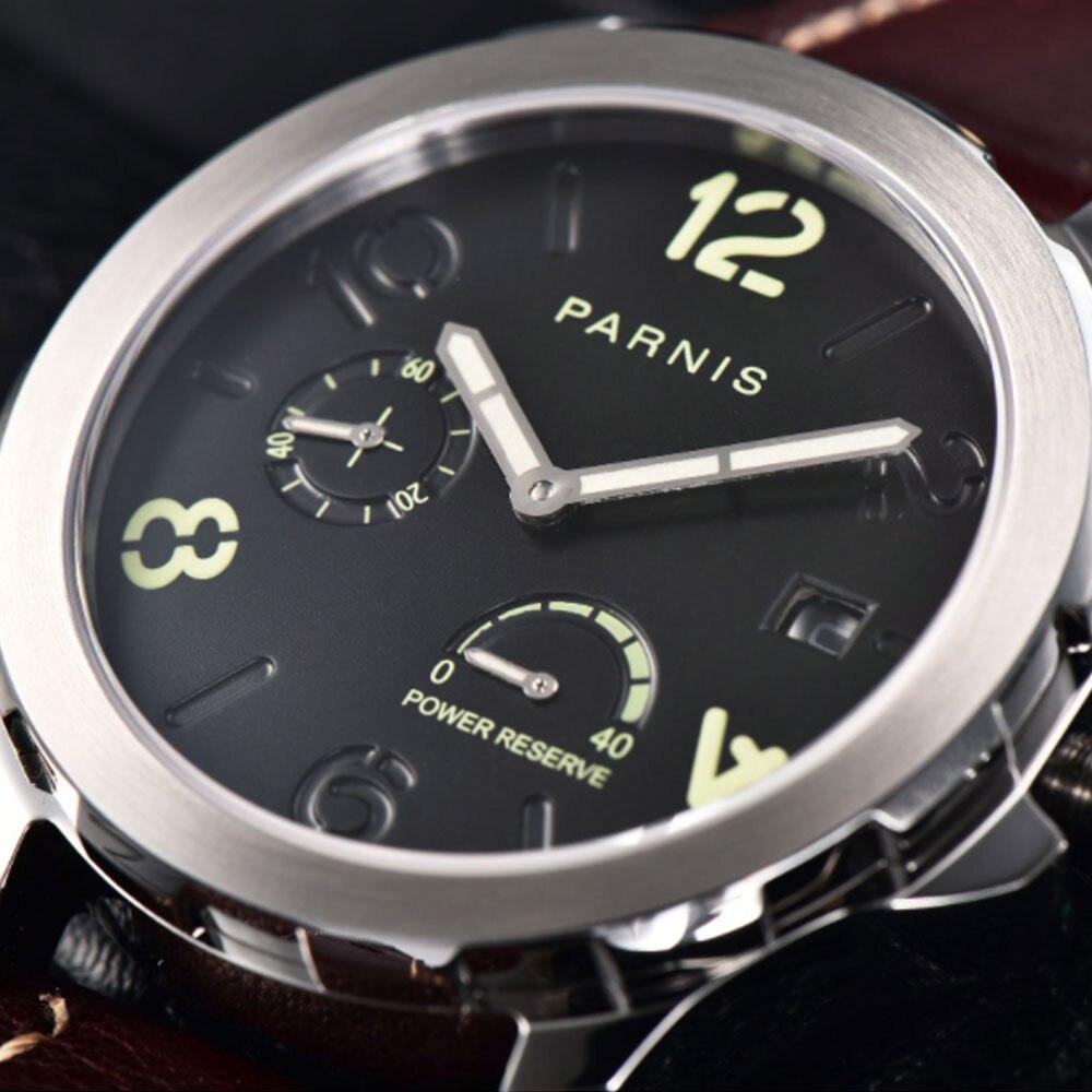 Montres mécaniques lumineuses montre homme Tourbillon Parnis 44mm puissance réservée luxe calendrier cuir étanche montres Relojes